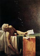 According to Dr. Paula Carabell, the painting The Death of Marat likens Marat to which historical figure?