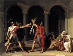 According to Dr. Paula Carabell, what elements found in the painting Oath of the Horatii indicate that it is representative of the Neoclassical Period?